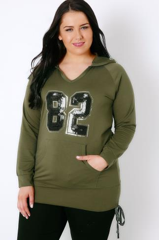 "Hoodies & Jackets Khaki & Black Sequin ""82"" Hoodie With Ruched Sides 103122"