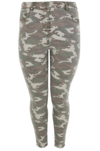 Khaki Camo 5 Pocket Stretch Skinny Jeans