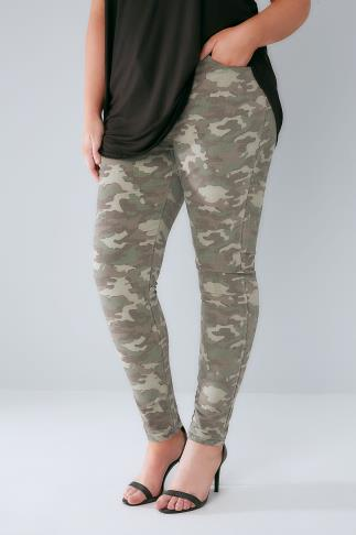 Khaki Camo 5 Pocket Stretch Skinny Jeans 142015