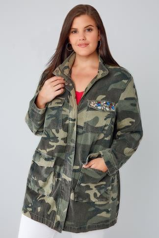 Jackets Khaki Camo Longline Jacket With Pockets & Rhinestone Embellishment 120001