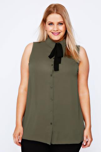 Khaki Chiffon Sleeveless Shirt With Black Neck Tie
