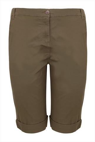Khaki Chino Stretch Shorts
