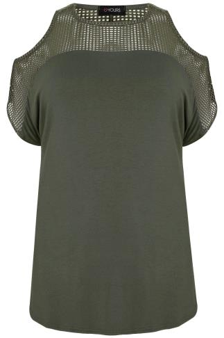 Khaki Cold Shoulder Top With Mesh Panels