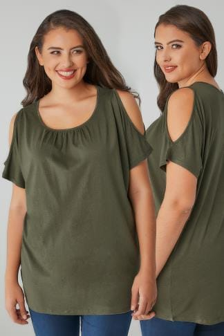 Bardot & Cold Shoulder Tops Khaki Cold Shoulder Top With Ruched Neckline 132340