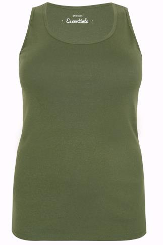 Khaki Cotton Vest Top