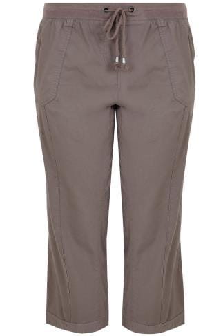 Cool Cotton Khaki Cropped Cotton Trousers With Ribbed Waistband 170311