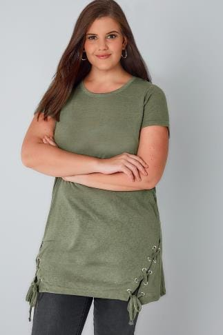 Tops Khaki Fine Knit Top With Lace Up Hem 132237