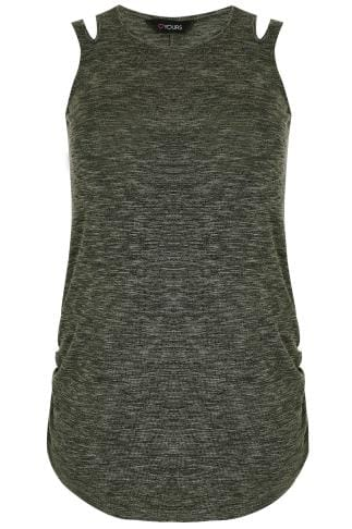 Khaki & Grey Knitted Sleeveless Top With Cut Out Neck Detail & Ruched Sides