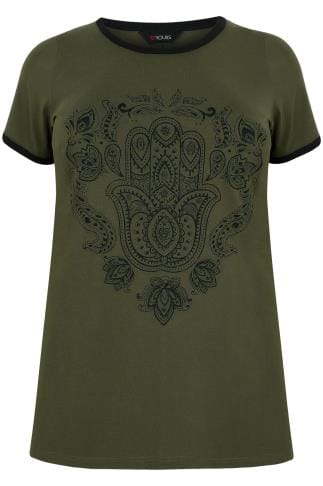 Khaki Hamsa Hand Print Top With Contrast Edges