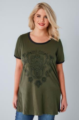 Jersey Tops Khaki Hamsa Hand Print Top With Contrast Edges 132198