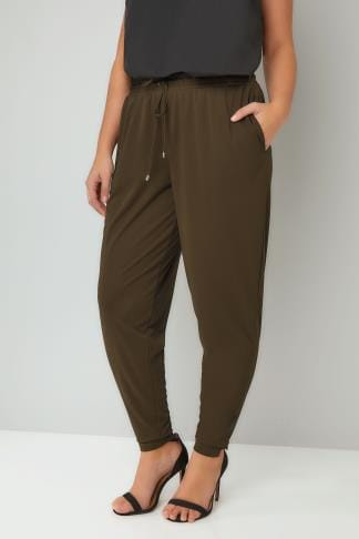 Harem Trousers Khaki Jersey Harem Trousers With Pockets & Drawstring Waist 057029