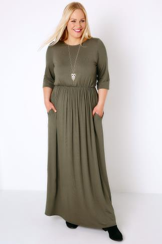 Khaki Jersey Maxi Dress With Ruched Waist and Pockets