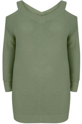 Khaki Knitted Cold Shoulder Jumper With Pointelle Detail
