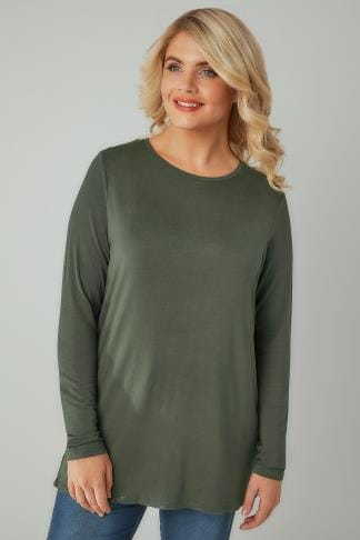 Jersey Tops Khaki Long Sleeve Soft Touch Jersey Top 132332