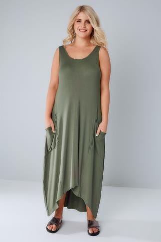 Maxi Dresses Khaki Maxi Dress With Drop Pockets & Dipped Hem 136079