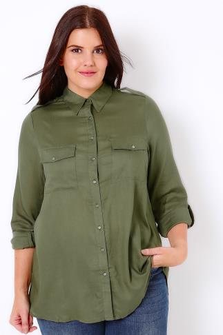 Khaki Military Tencel Shirt With Dipped Hem