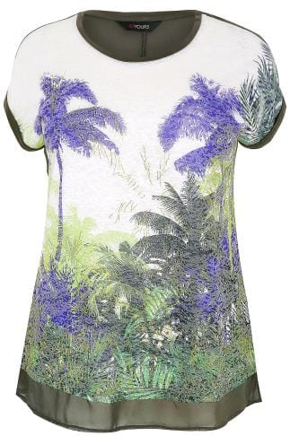 Khaki & Multi Glitter Palm Print Top With Mesh Hem