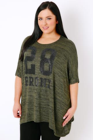 "Khaki Oversized Top With ""Bronx"" Embellished Slogan"
