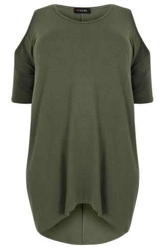 Khaki Oversized Top With Cold Shoulder Cut Out & Extreme Dipped Hem