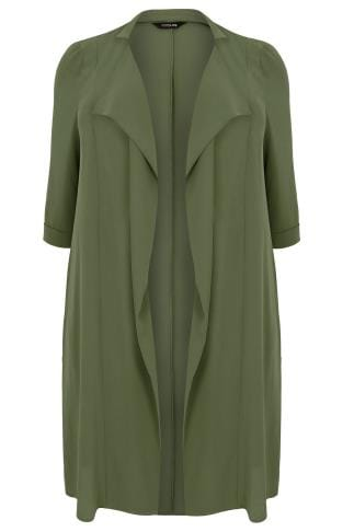 Khaki Panelled Duster Jacket With Waterfall Front & Half Sleeves