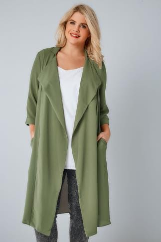 Jackets Khaki Panelled Duster Jacket With Waterfall Front & Half Sleeves 134165