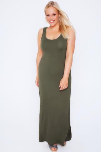 Khaki Plain Sleeveless Jersey Maxi Dress