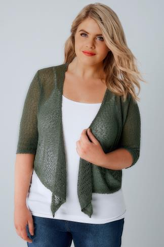 Khaki Popcorn Crochet Cropped Shrug 124004