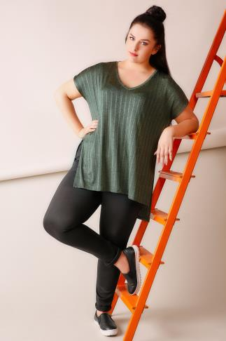 Khaki Ribbed Slinky V-Neck Top With Dipped Hem & Side Splits