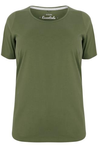 Khaki Scoop Neck Basic T-Shirt