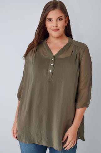 Blouses & Shirts Khaki Sheer Chiffon Button-Up Blouse With 3/4 Length Sleeves 170304