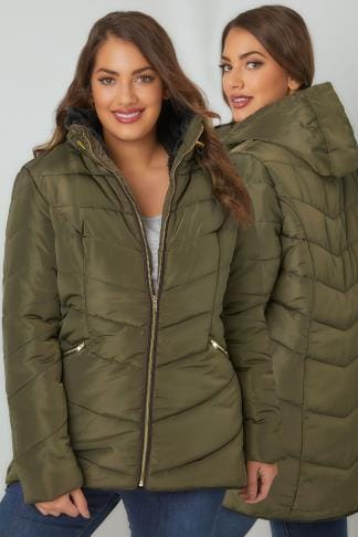 Puffer & Quilted Jackets Khaki Short Quilted Puffer Jacket With Foldaway Hood 120081