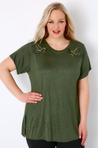 Khaki Slub Top With Side Splits & Embroidered Eagle Shoulder