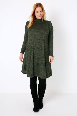 Khaki Space Dye Turtle Neck Swing Dress