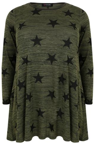Khaki Star Print Swing Top With PU Trim