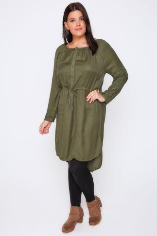 Khaki Stitch Detail Long Sleeve Button Up Dress