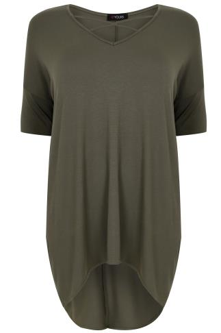 Khaki Top With Cross Over Front & Extreme Dipped Hem