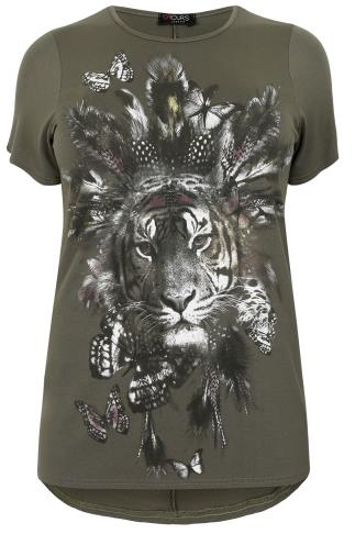 Khaki Tribal Tiger Print T-Shirt With Dipped Hem