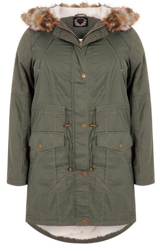 Khaki  Twill Lined Parka With Fur Trim Hood