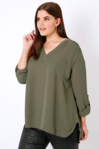 Khaki V-Neck Blouse With Dipped Hem
