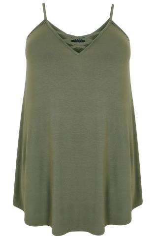 Khaki V-Neck Longline Cami Vest Top With Cross Front Detail