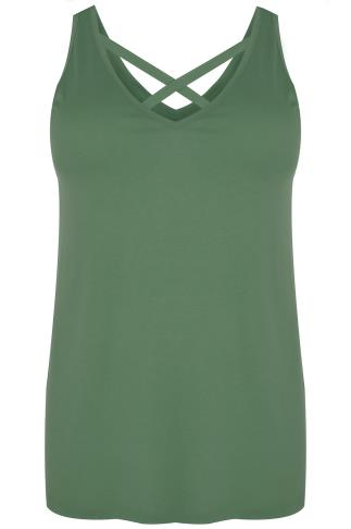 Khaki V-Neck Vest Top With Cross Front Detail