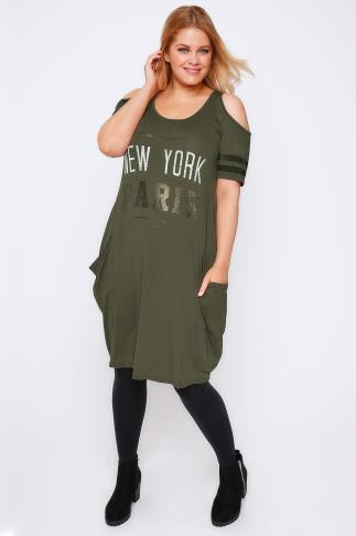 Khaki Varsity Print Cold Shoulder Jersey Dress