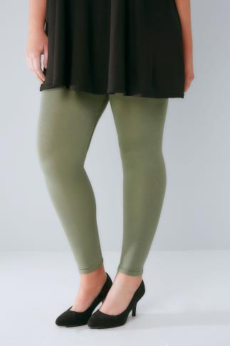 Basic Leggings Khaki Viscose Elastane Leggings 142051