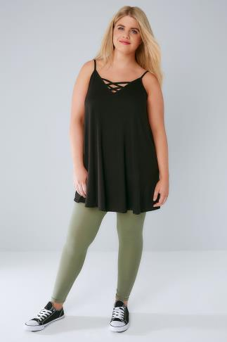 Basic Khaki Viscose Elastane Leggings 142051