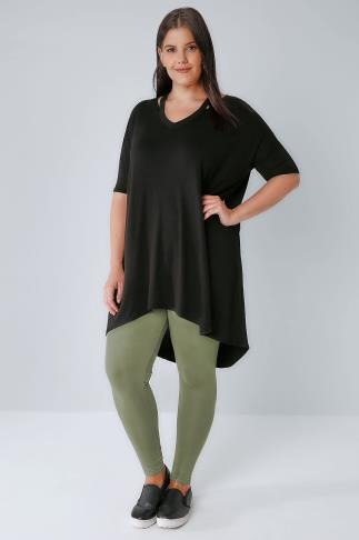 Khaki Viscose Elastane Leggings With Elasticated Waist 142051