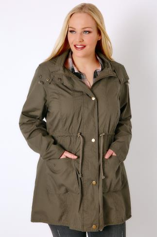 Parkas Khaki Washed Lightweight Parka With Hood 102742