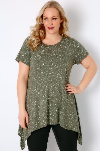 Khaki & White Star Print Jersey Top With Hanky Hem