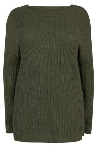 Pulls Khaki knitted Longline Jumper With Open Back 124119