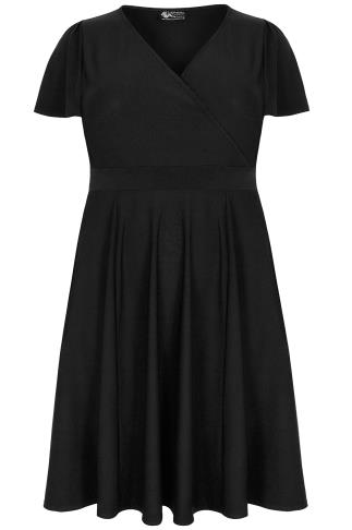LADY VOLUPTUOUS Black Lyra Wrap Dress