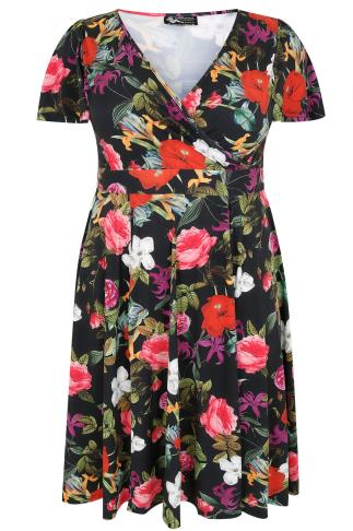 LADY VOLUPTUOUS Black & Multi Floral Print Lyra Dress 138393